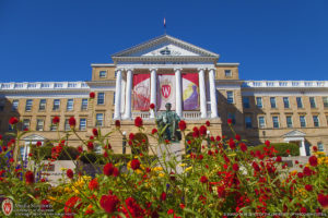 UW-Madison, Bascom Hall, Abe Lincoln statue, red flowers, W crest, University of Wisconsin