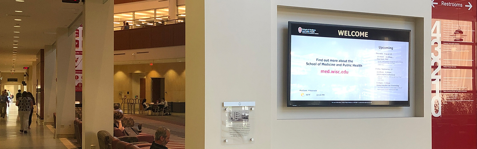 Digital display in hallway of UW-Madison Health Sciences Learning Center
