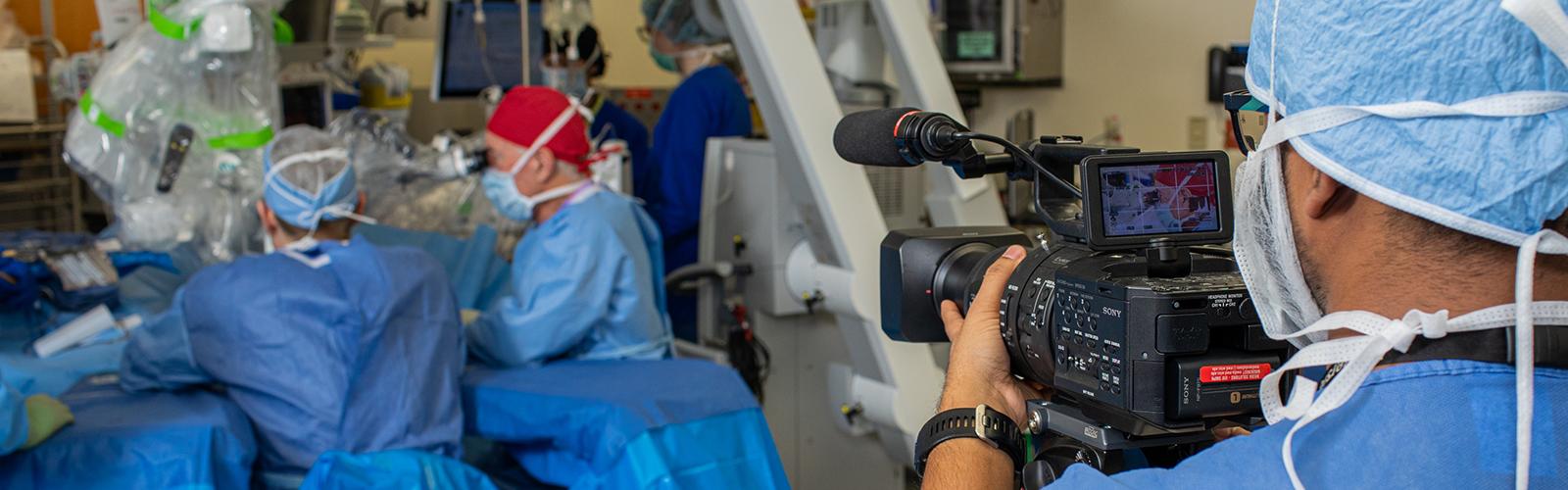 Media Specialist Pathum Karunaratne shoots video for UW-Madison Dept of Surgery