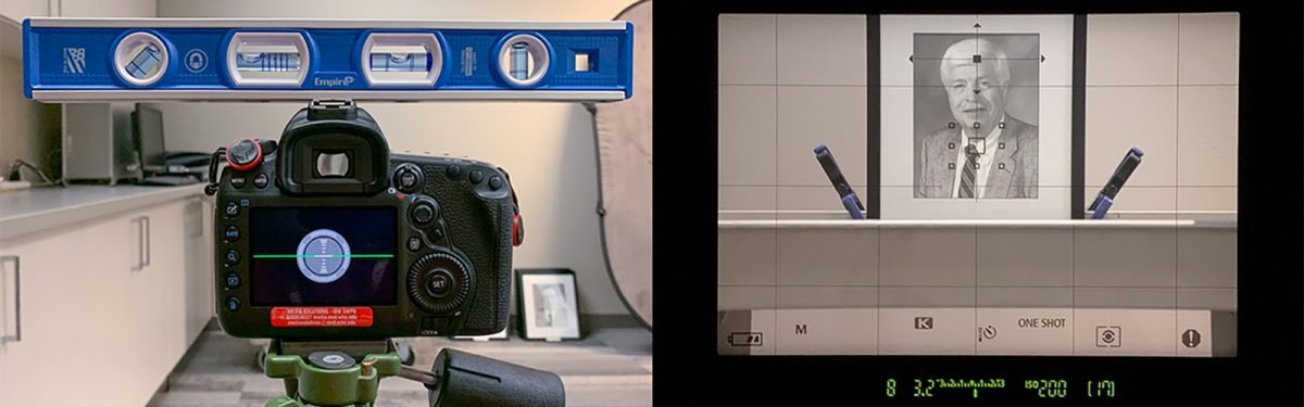 Photographic equipment and process showing how to photograph an image behind glass